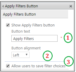 Apply Filters Button Web part properties