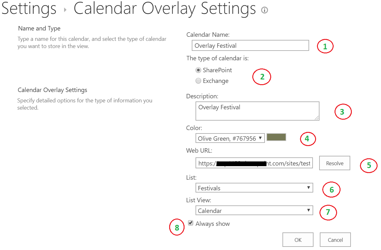 Calendar overlay settings form
