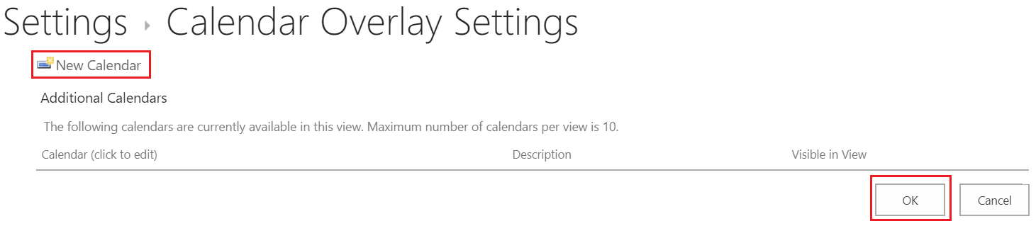 Calendar overlay settings