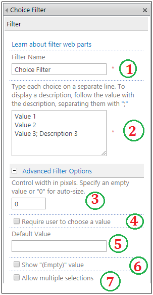Choice Filter Web part properties
