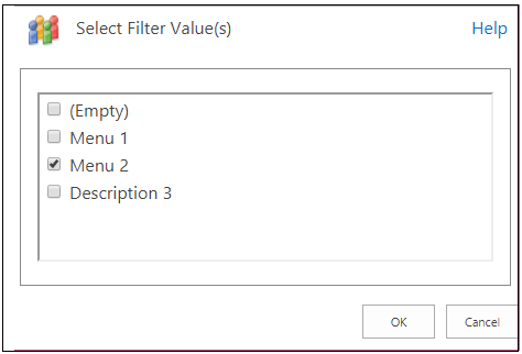 Choice Filter Web part select choice Filter values