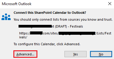 Connect to SharePoint application to Outlook advanced button