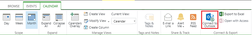 Connect to outlook navigation from sharepoint calendar