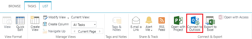 Connect to outlook navigation from sharepoint task list