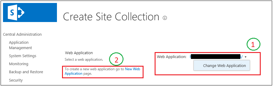 Create Site Collection page web application