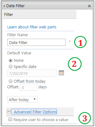 Date Filter Web part properties