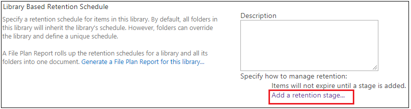 Document Library Add Retention Stage