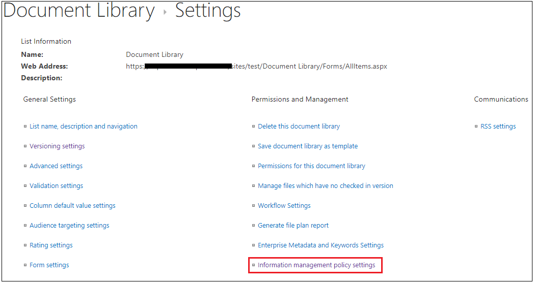 Document Library Information management policy settings Navigation