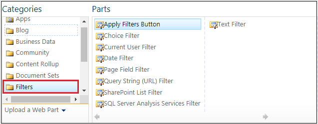 Filters webpart Category navigation