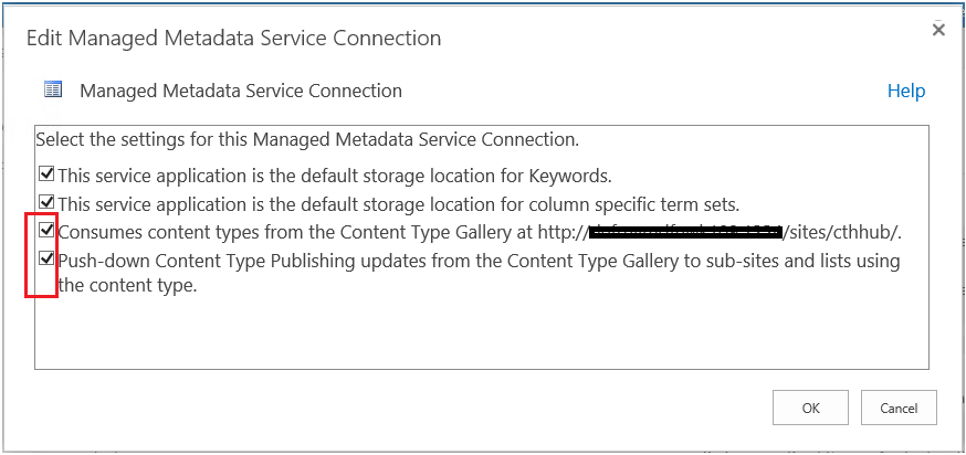 Managed Metadata service connection