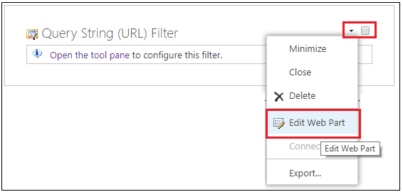 Query string URL-Filter Web part edit webpart navigation