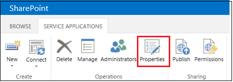 Service application ribbon properties