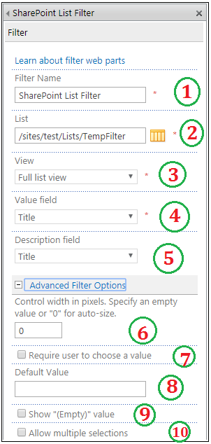 SharePoint List Filter Web part properties