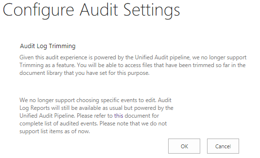 SharePoint Online Configure Audit settings