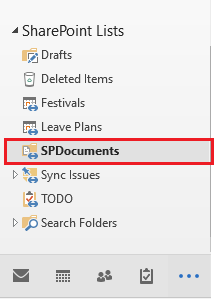 SharePoint document library in outlook