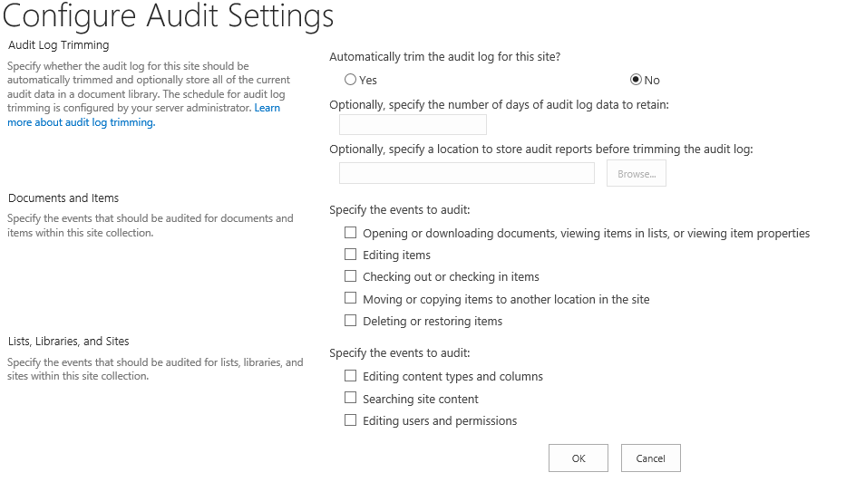 SharePoint on premises Site collection audit settings