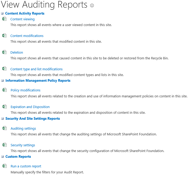 SharePoint on premises View Auditing Reports
