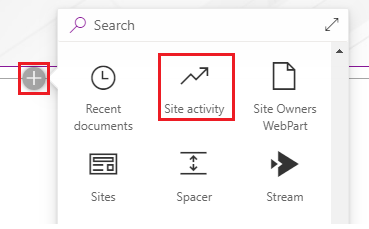 SharePoint online Site activity Report add webpart link