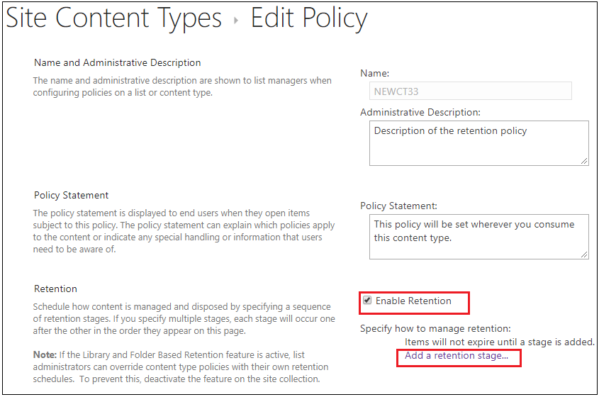 Site Content Type Edit Retention Policy