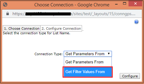 Text filter web part choose connection