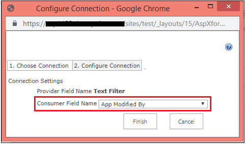 Text filter web part configure connection