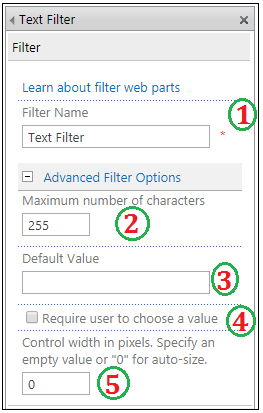 Text filter web part properties