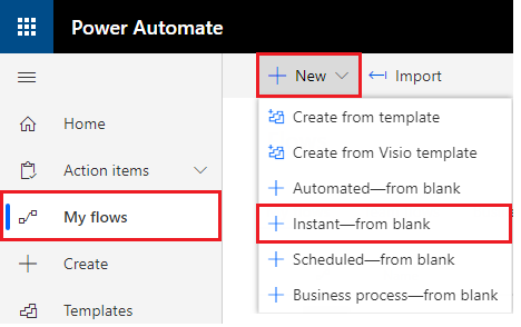 create instant blank ms flow