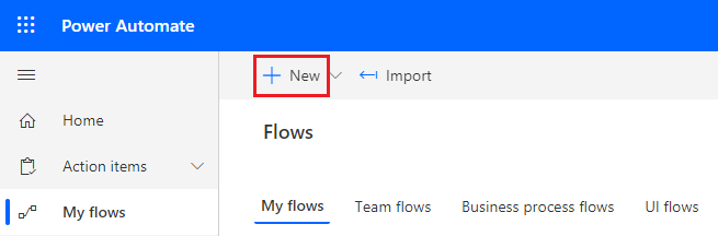 create new flow button