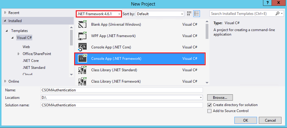 create console application using Visual Studio