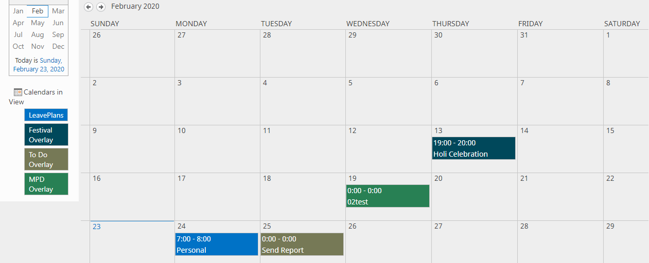 different types of sharepoint calendar overlays
