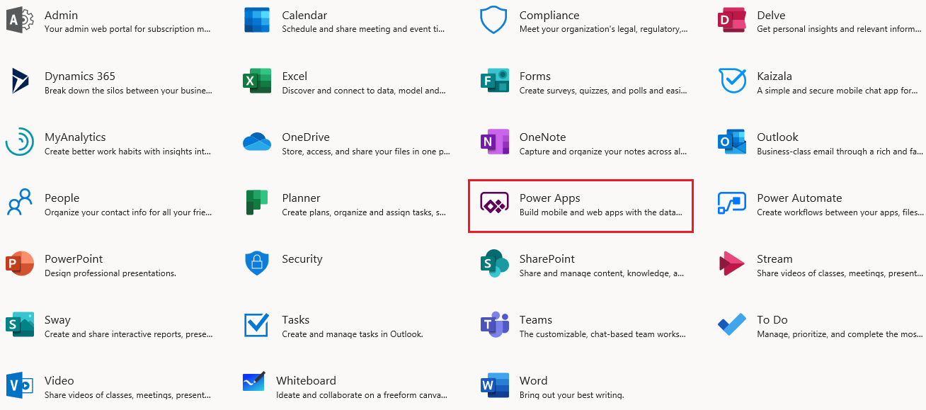 o365 Power Apps Link
