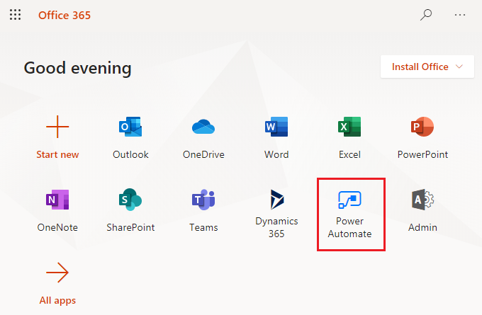 power automate from o365 portal