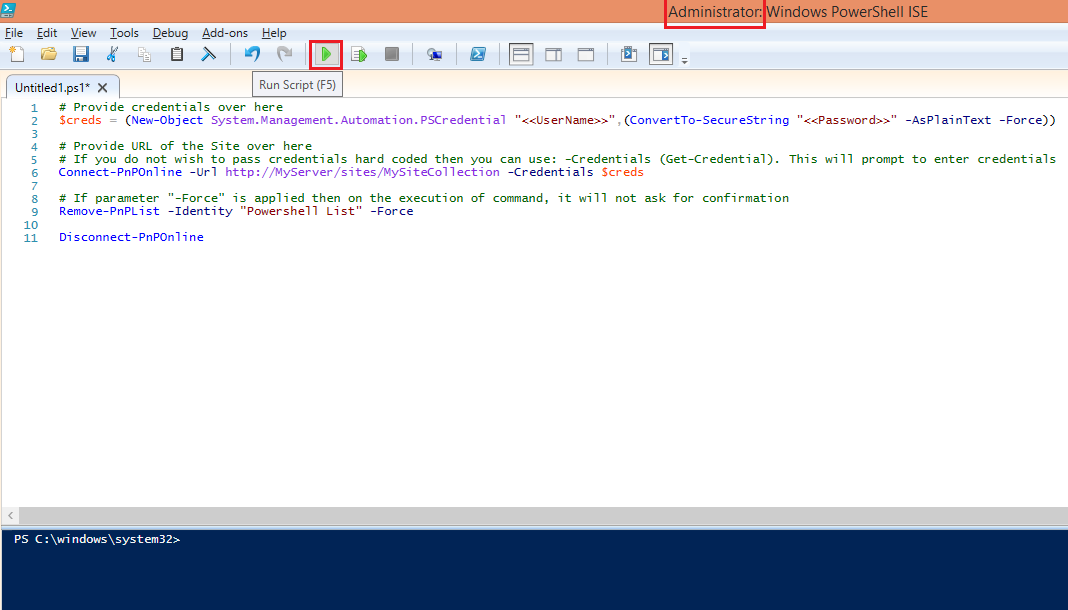 powershell ise run command